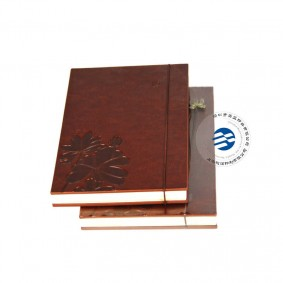 China Custom PU Leather Hardcover Notebook With Debossing Logo Binding Service